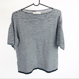 Loft black white striped knit top small